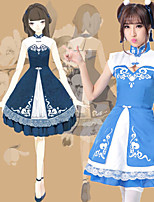 cheap -Sweet Lolita Dress JSK / Jumper Skirt Female Japanese Cosplay Costumes Blue Color Block Lace Sleeveless Knee Length / Headpiece