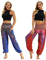 cheap -Women's Yoga Pants Harem Smocked Waist Print Red Dark Blue Dance Fitness Gym Workout Bloomers Sport Activewear Lightweight Breathable Quick Dry Soft Stretchy Loose