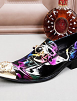 cheap -Men's Novelty Shoes Nappa Leather Spring & Summer / Fall & Winter Casual / British Loafers & Slip-Ons Non-slipping Rainbow / Party & Evening