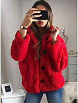 cheap -Women's Daily / Birthday Street chic Fall & Winter Regular Coat, Solid Colored Shirt Collar Long Sleeve Polyester Red / Camel