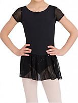 abordables -Robe de Patinage Artistique Femme Fille Patinage Robes Noir Spandex Haute élasticité Entraînement Compétition Tenue de Patinage Fait à la main Mosaïque Manches Courtes Patinage sur glace Patinage