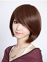 cheap -Synthetic Wig kinky Straight Asymmetrical Wig Short Brown Synthetic Hair 5 inch Women's Best Quality Brown
