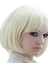 cheap -Synthetic Wig kinky Straight Asymmetrical Wig Short Creamy-white Synthetic Hair 5 inch Women's Best Quality White