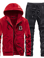 cheap -Men's Embroidered 2-Piece Pleuche Tracksuit Sweatsuit 2pcs Winter Front Zipper Hooded Running Fitness Jogging Thermal / Warm Breathable Soft Sportswear Athletic Clothing Set Long Sleeve Activewear