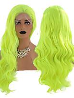 abordables -Perruque Lace Front Synthétique Ondulation naturelle Partie libre Lace Frontale Perruque Long vert fluorescent Cheveux Synthétiques 18-26 pouce Femme Résistant à la chaleur Synthétique Faciliter