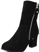 cheap -Women's Boots Chunky Heel Round Toe Suede Mid-Calf Boots Winter Black / Red