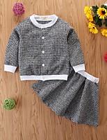 cheap -Kids Girls' Basic Plaid Long Sleeve Clothing Set Black