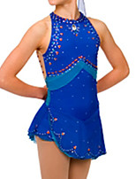 cheap -Figure Skating Dress Women's Girls' Ice Skating Dress Royal Blue Spandex High Elasticity Training Competition Skating Wear Handmade Patchwork Crystal / Rhinestone Sleeveless Ice Skating Figure Skating