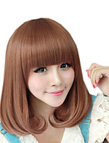 cheap -Synthetic Wig kinky Straight Neat Bang Wig Medium Length Brown Synthetic Hair 13 inch Women's Best Quality Brown