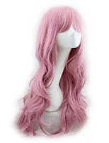 abordables -Perruque Synthétique Bouclé Coupe Asymétrique Perruque Long Rose Cheveux Synthétiques 27 pouce Femme Meilleure qualité Rose