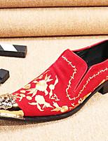 abordables -Homme Chaussures de nouveauté Cuir Nappa Printemps été / Automne hiver Classique / Britanique Mocassins et Chaussons+D6148 Ne glisse pas Noir / Rouge / Soirée & Evénement