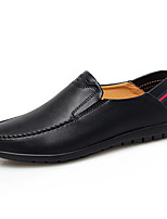 cheap -Men's Moccasin Cowhide / PU Fall / Spring & Summer Casual Loafers & Slip-Ons Walking Shoes Breathable Black / White / Blue