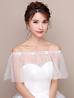 cheap -Short Sleeve Polyester / Tulle Wedding Women's Wrap With Imitation Pearl / Appliques Capelets