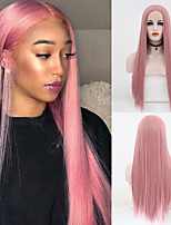 cheap -Synthetic Lace Front Wig Straight Middle Part Lace Front Wig Long Pink Synthetic Hair 18-26 inch Women's Soft Adjustable Party Pink
