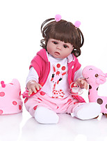 cheap -NPKCOLLECTION 20 inch Reborn Doll Baby Baby Girl Gift Cute Artificial Implantation Brown Eyes Full Body Silicone Silicone Silica Gel with Clothes and Accessories for Girls' Birthday and Festival Gifts