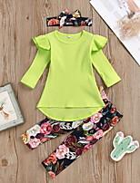 cheap -Baby Girls' Street chic Floral Long Sleeve Regular Clothing Set Green
