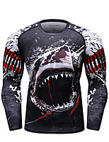 cheap -CODYLUNDIN Men's Running T-Shirt Compression Shirt Running Base Layer Round Neck Running Active Training Jogging Breathable Soft Sweat-wicking Sportswear Dragon Top Long Sleeve Activewear Stretchy
