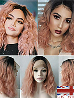 cheap -Synthetic Wig Curly kinky Straight Asymmetrical Wig Medium Length Ombre Pink Synthetic Hair 16 inch Women's Best Quality Pink Ombre