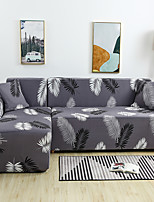 cheap -Grey Leaves Print Dustproof All-powerful Slipcovers Stretch L Shape Sofa Cover Super Soft Fabric Couch Cover with One Free Pillow Case