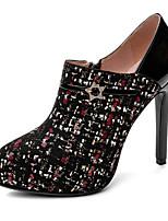 cheap -Women's Heels Stiletto Heel Pointed Toe Tissage Volant Vintage / British Spring &  Fall Black / White / Black / Red