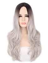cheap -Synthetic Wig Cosplay Wig Highlighted Hair Wavy Body Wave Middle Part Wig Long Grey Synthetic Hair 26inch Women's Cosplay Soft Adjustable Gray Ombre / Heat Resistant / Ombre Hair