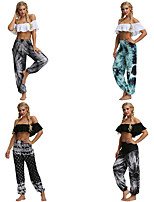 cheap -Women's Yoga Pants Harem Smocked Waist Print Black Black / White Gray Light Blue Dance Fitness Gym Workout Bloomers Sport Activewear Lightweight Breathable Quick Dry Soft Stretchy Loose