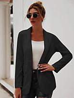 abordables -Femme Blazer, Couleur Pleine Col châle Polyester Noir / Beige