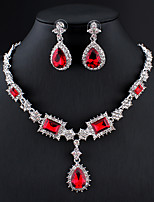 cheap -Women's Blue Red Gray Hoop Earrings Necklace Bridal Jewelry Sets Classic Drop Pear Stylish Basic Cute Earrings Jewelry Peacock Blue / Dark Red / Grey For Wedding Party Engagement One-piece Suit