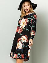 cheap -Women's Shirt Dress - Geometric Print Black Wine White S M L XL
