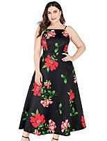 cheap -Women's A Line Dress - Floral Black XL XXL XXXL XXXXL