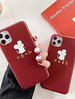 cheap -Cute Mouse Year Case For Apple iPhone 11 / iPhone 11 Pro / iPhone 11 Pro Max Shockproof / Ultra-thin / Pattern Back Cover Word / Phrase / Animal / Burgundy TPU