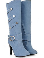 cheap -Women's Boots Stiletto Heel Round Toe Canvas Mid-Calf Boots Winter Black / Dark Blue / Light Blue