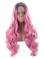 cheap -Synthetic Wig Curly Asymmetrical Wig Long Pink / Grey Synthetic Hair 27 inch Women's Best Quality Pink
