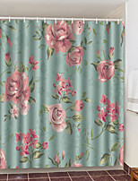 cheap -Shower Curtains with Hooks Pink Flowers Polyester Novelty Fabric Waterproof Shower Curtain for Bathroom
