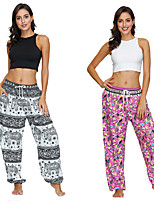 cheap -Women's Yoga Pants Winter Harem Print Black Light Pink Dance Fitness Gym Workout Bloomers Sport Activewear Lightweight Breathable Quick Dry Soft Stretchy Loose