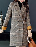 cheap -Women's Daily Fall & Winter Long Coat, Plaid Notch Lapel Long Sleeve Polyester Brown