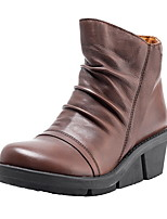 cheap -Women's Boots Wedge Heel Round Toe PU Booties / Ankle Boots Fall & Winter Black / Coffee