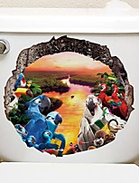 cheap -Cartoon Animals Toilet Stickers - Animal Wall Stickers Landscape / Animals Bathroom / Indoor
