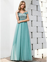 cheap -A-Line Spaghetti Strap Floor Length Tulle Empire Prom / Formal Evening / Wedding Guest Dress 2020 with Sequin