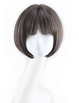 cheap -Synthetic Wig Curly Bob Asymmetrical Wig Short Natural Black Synthetic Hair 11 inch Women's Best Quality Black