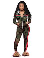 cheap -Women's Side-Stripe 2-Piece Tracksuit Sweatsuit 2pcs Running Fitness Jogging Sportswear Camo Windproof Breathable Soft Athletic Clothing Set Long Sleeve Activewear Micro-elastic Regular Fit