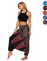 cheap -Women's Yoga Pants Harem Baggy Print Brown Black / White Black / Red Sky Blue Purple Dance Fitness Gym Workout Bloomers Sport Activewear Lightweight Breathable Quick Dry Soft Stretchy Loose