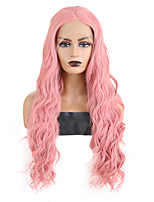 cheap -Synthetic Lace Front Wig Wavy Middle Part Lace Front Wig Long Pink Synthetic Hair 18-26 inch Women's Cosplay Soft Adjustable Pink