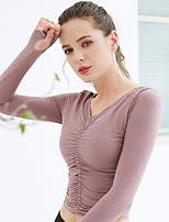 cheap -Women's Yoga Top Thumbhole Shirred Solid Color Earth Yellow Dark Pink Dark Purple Yoga Running Fitness Tee / T-shirt Long Sleeve Sport Activewear Breathable Quick Dry Comfortable High Elasticity