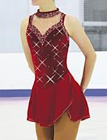 abordables -Robe de Patinage Artistique Femme Fille Patinage Robes Rouge Bordeaux Spandex Haute élasticité Entraînement Compétition Tenue de Patinage Fait à la main Mosaïque Cristal / Stras Sans Manches Patinage