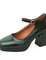 cheap -Women's Heels Chunky Heel Round Toe PU Winter Black / Brown / Green