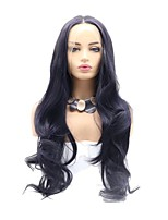 cheap -Synthetic Lace Front Wig Body Wave Layered Haircut Lace Front Wig Medium Length Black / Purple Synthetic Hair 26 inch Women's Party Women Black Purple Sylvia