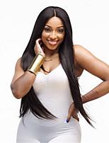 abordables -Perruque Synthétique Droit Droit crépu Coupe Asymétrique Perruque Long Noir Cheveux Synthétiques 27 pouce Femme Meilleure qualité Noir