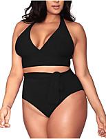abordables -Femme Noir Blanche Orange Bikinis Maillots de Bain - Couleur Pleine XL XXL XXXL Noir