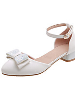 cheap -Women's Heels Low Heel Round Toe Bowknot PU Casual / Minimalism Summer Black / White / Pink
